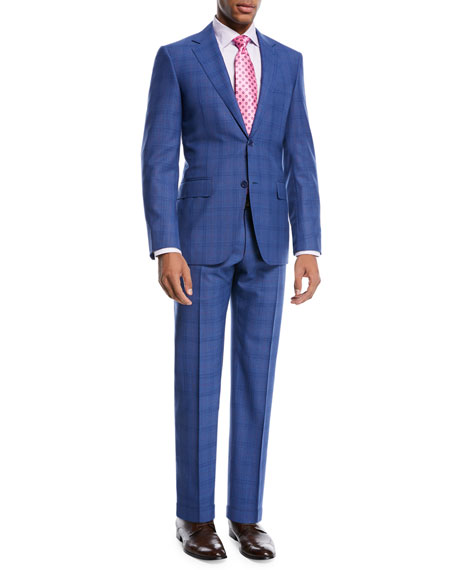 Super 130s Plaid Wool Two-Piece Suit