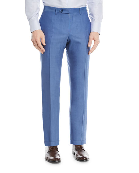 Melange Wool Flat-Front Pants, Blue