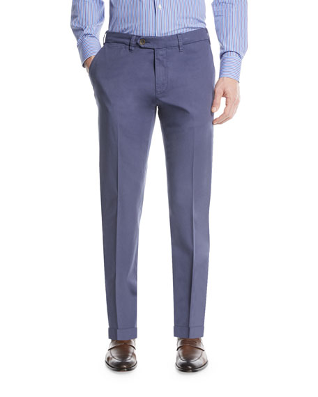 Canali Stretch-Cotton Flat-Front Dress Pants, Blue