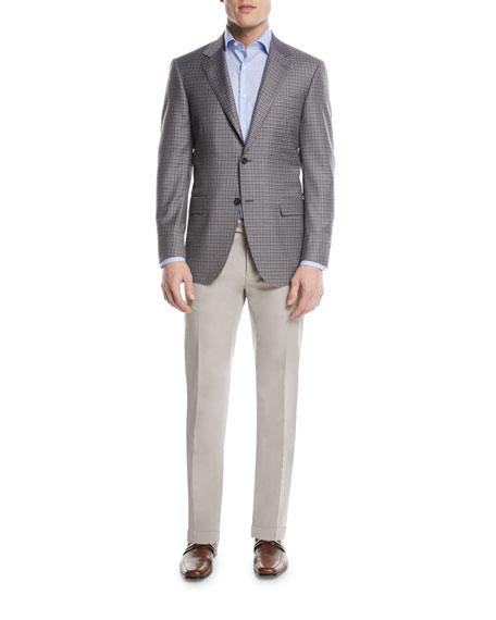 Stretch-Cotton Flat-Front Dress Pants, Stone