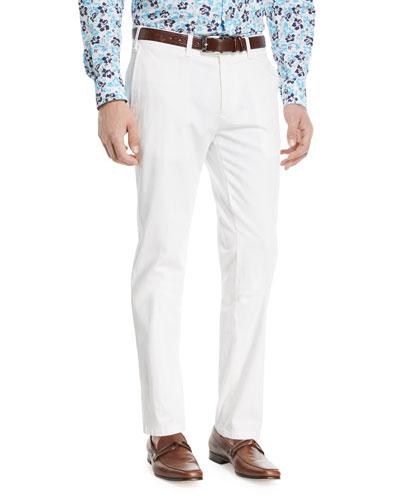 Stretch-Cotton Flat-Front Dress Pants