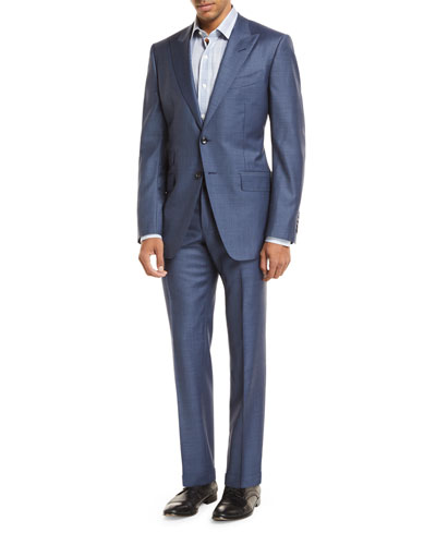 Sharkskin Wool Two-Piece Suit