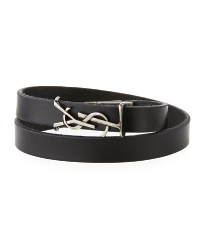Men's Leather Wrap Bracelet w/ Logo