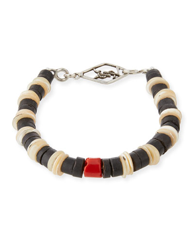 Men's Shell Bracelet with Coral