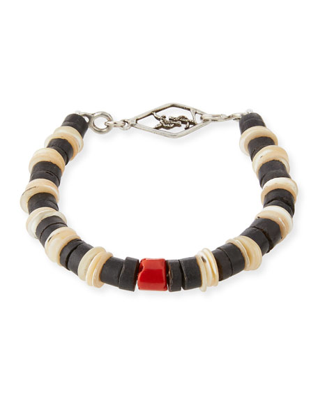 Saint Laurent Mens Shell Bracelet with Coral 49dblJ