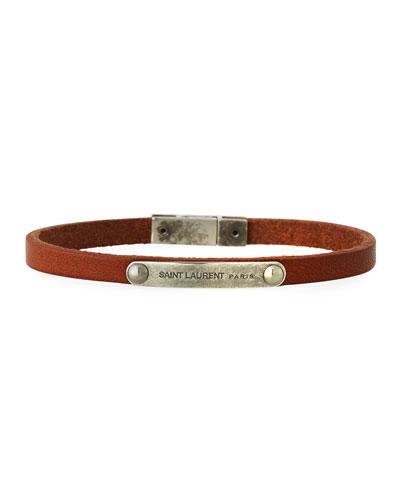 Men's Magnet-Clasp Leather Bracelet, Dark Brown