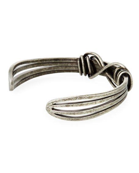 Men's Twisted Silvertone Wire Kick Cuff Bracelet