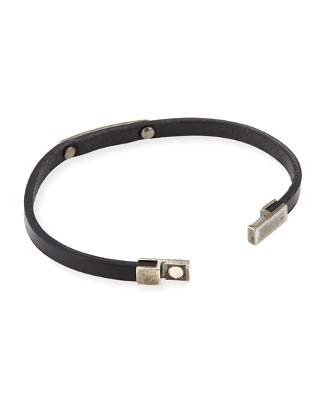 Men's Magnet-Clasp Leather Bracelet