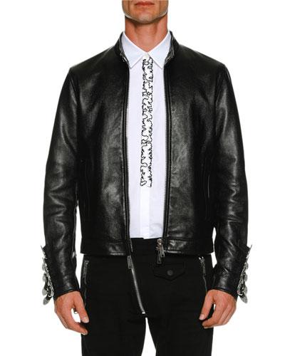 Leather Biker Jacket w/ Buckle Cuffs