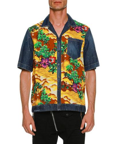 Denim & Hawaii-Print Bowling Shirt