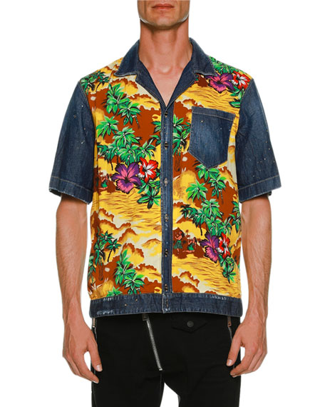 Dsquared2 Denim & Hawaii-Print Bowling Shirt