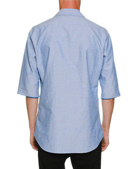 Oxford Relaxed Shirt w/ Ruffled Bib