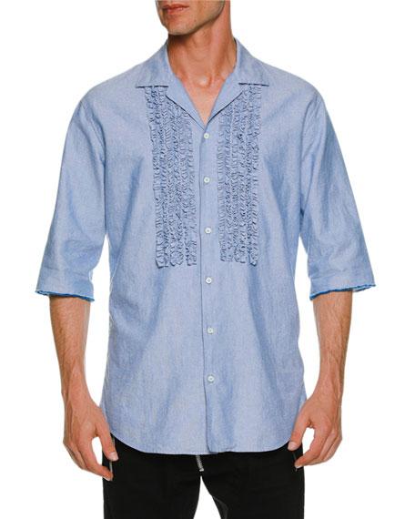 Oxford Relaxed Shirt w/ Ruffled Bib