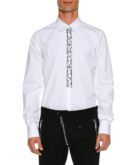 Poplin Slim Shirt w/ Ruffled Placket