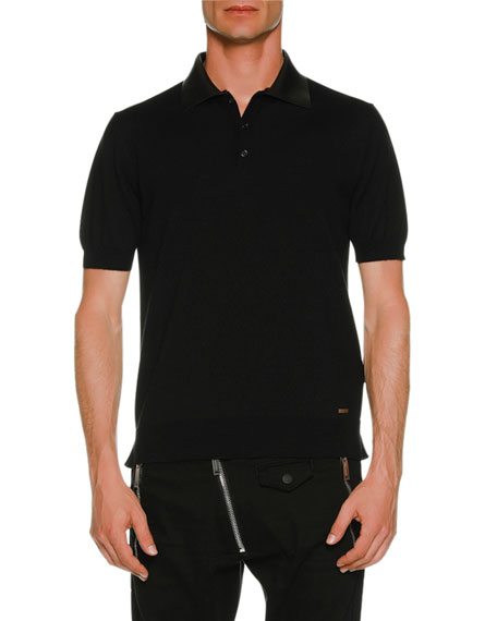 Polo Shirt w/ Leather Collar