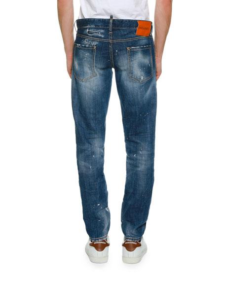 Patchwork Distressed Slim-Fit Jeans