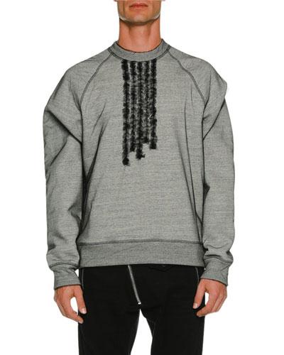 Organza Overlay Long-Sleeve Sweatshirt