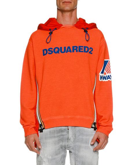 K-Way Mixed-Media Graphic Hoodie Sweatshirt