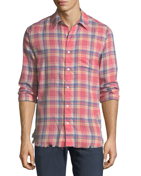 Frayed Flannel Long-Sleeve Shirt, Dark Pink