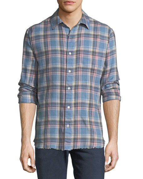 Frayed Flannel Long-Sleeve Shirt