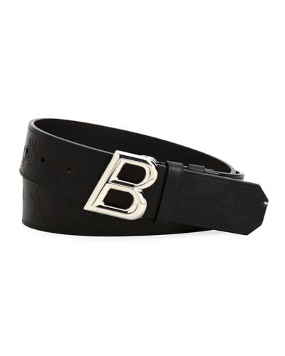Oblique B Stamped Leather Belt