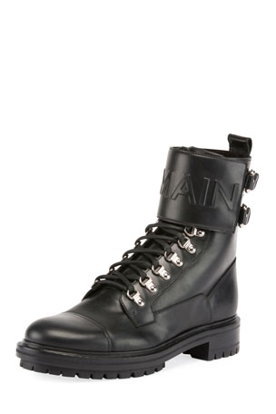Balmain Logo-Embossed Leather Military Boot