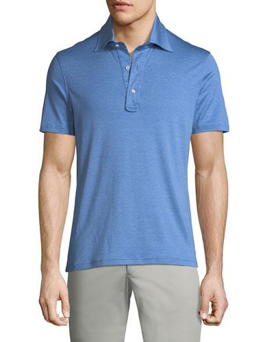 Heathered Cotton 3-Button Polo Shirt