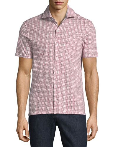 Geometric-Print Short-Sleeve Sport Shirt