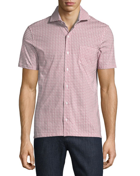 Isaia Geometric-Print Short-Sleeve Sport Shirt