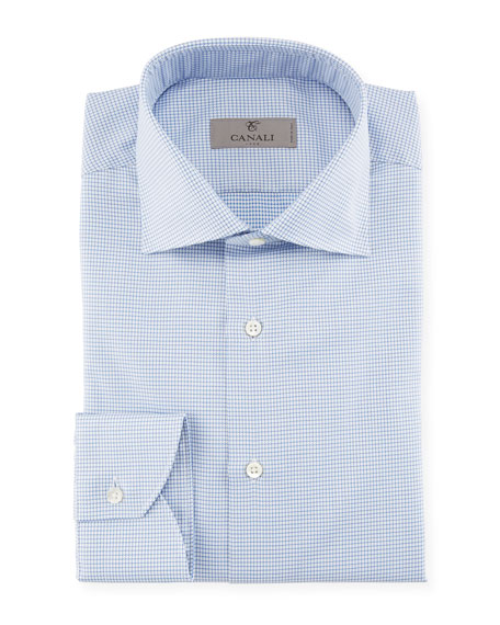 Canali Houndstooth Dress Shirt, Blue