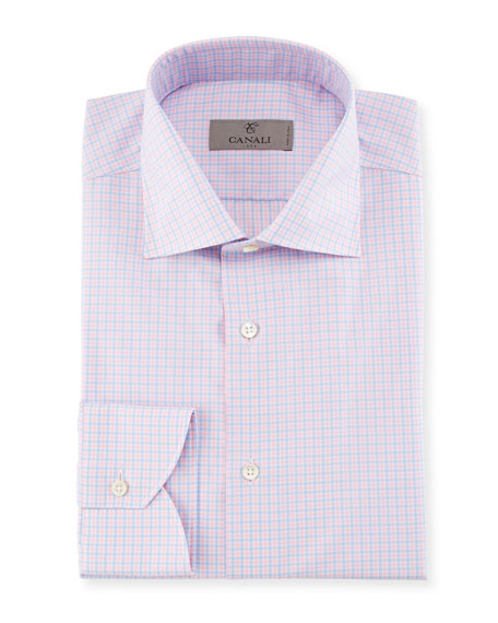 Canali Check Dress Shirt, Pink/Blue