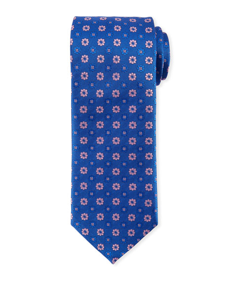 Alternating Flowers Silk Tie, Blue