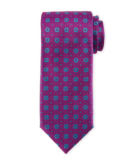 Alternating Flowers Silk Tie, Purple