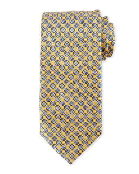 Boxed Floral Silk Tie, Yellow