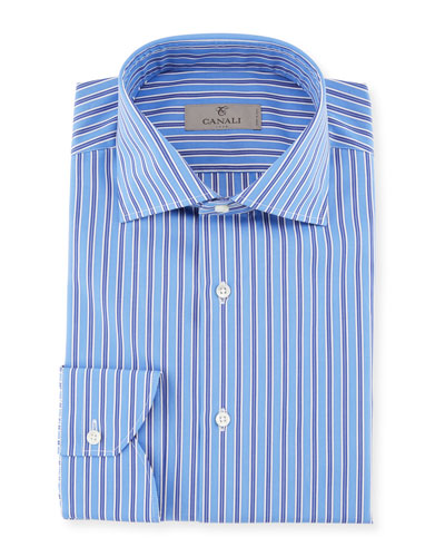 Contrast Striped Dress Shirt, Blue