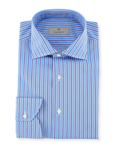 Canali Contrast Striped Dress Shirt, Blue