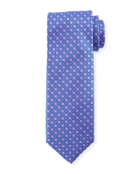 Canali Boxed Floral Silk Tie, Purple
