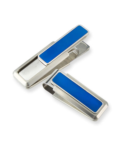 Blue-Inset Money Clip