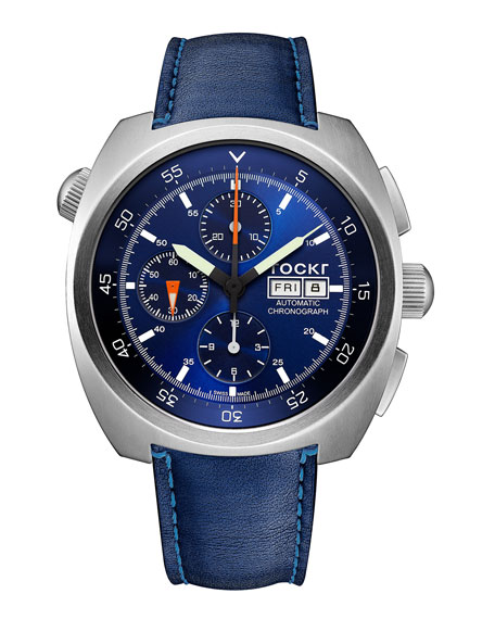 Air Defender Chronograph Leather Watch, Blue