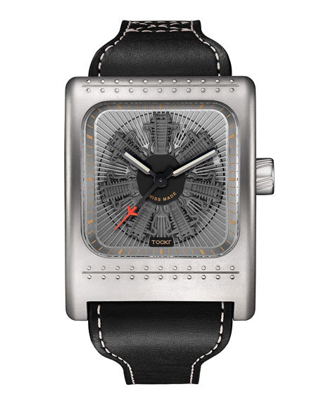 TOCKR WATCHES Radial C47W Leather Watch, Gray