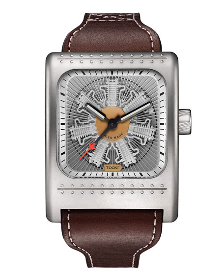 TOCKR WATCHES Radial C47W Leather Watch, Silver