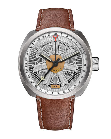 TOCKR WATCHES Radial C47C Leather Watch, Silver