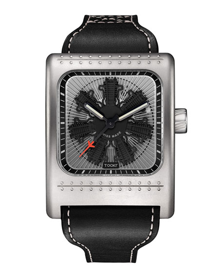 Radial C47W Leather Watch, Black