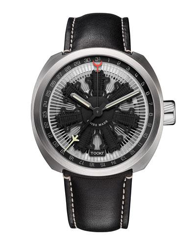 Radial C47C Leather Watch, Black