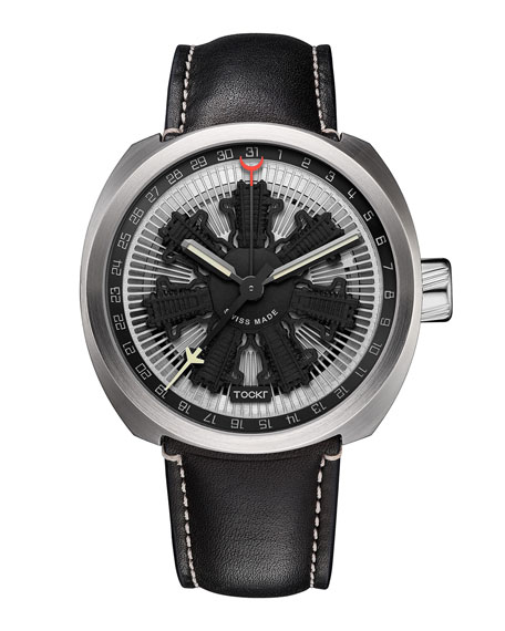 Radial C47C Leather Watch, Black