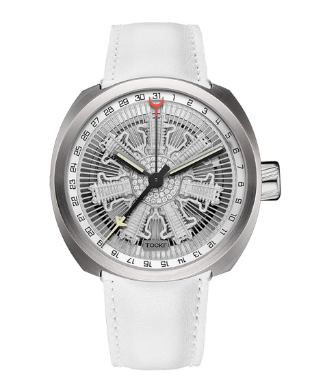 Radial Engine Leather Watch, Silver