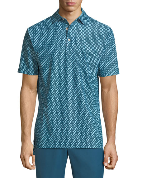 Peter Millar Diced Printed Pine Mesh Polo Shirt