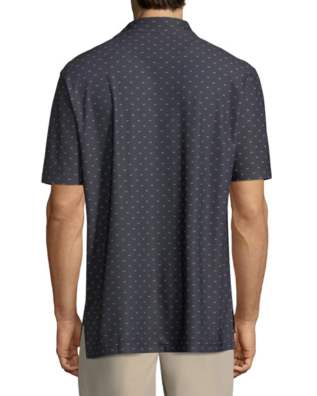 Chunked Black Beard-Print Polo Shirt