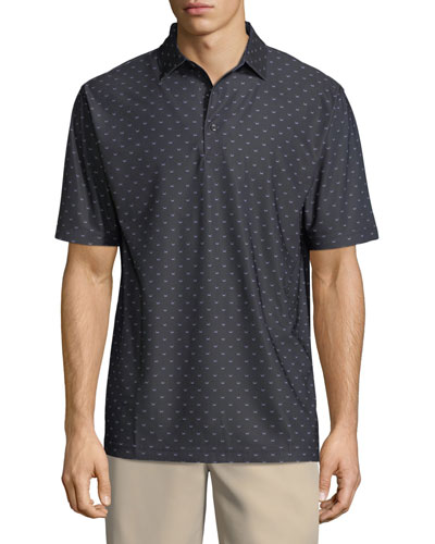 Chunked Black Beard-Print Polo Shirt