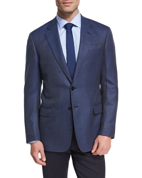 Micro Check Two-Button Jacket, Navy